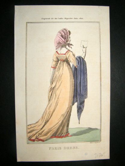 Lady's Magazine 1802 H/Col Regency Fashion Print. Paris Dress 16 | Albion Prints